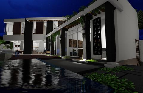 área piscina - noturno