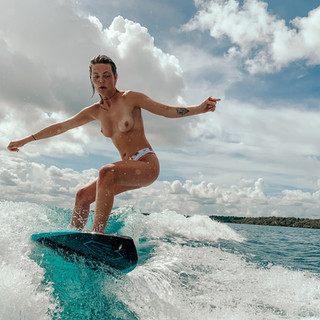 topless wakesurfing in bacalar