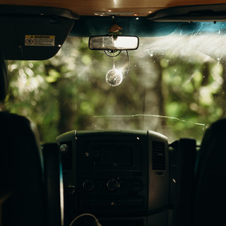 the disco ball in the van