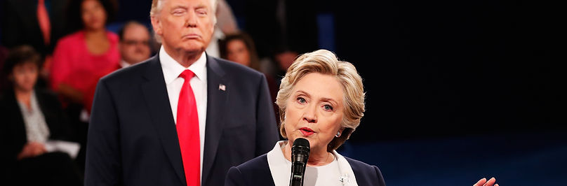 Hillary Clinton composes herself while being stalked by the future President of the United States