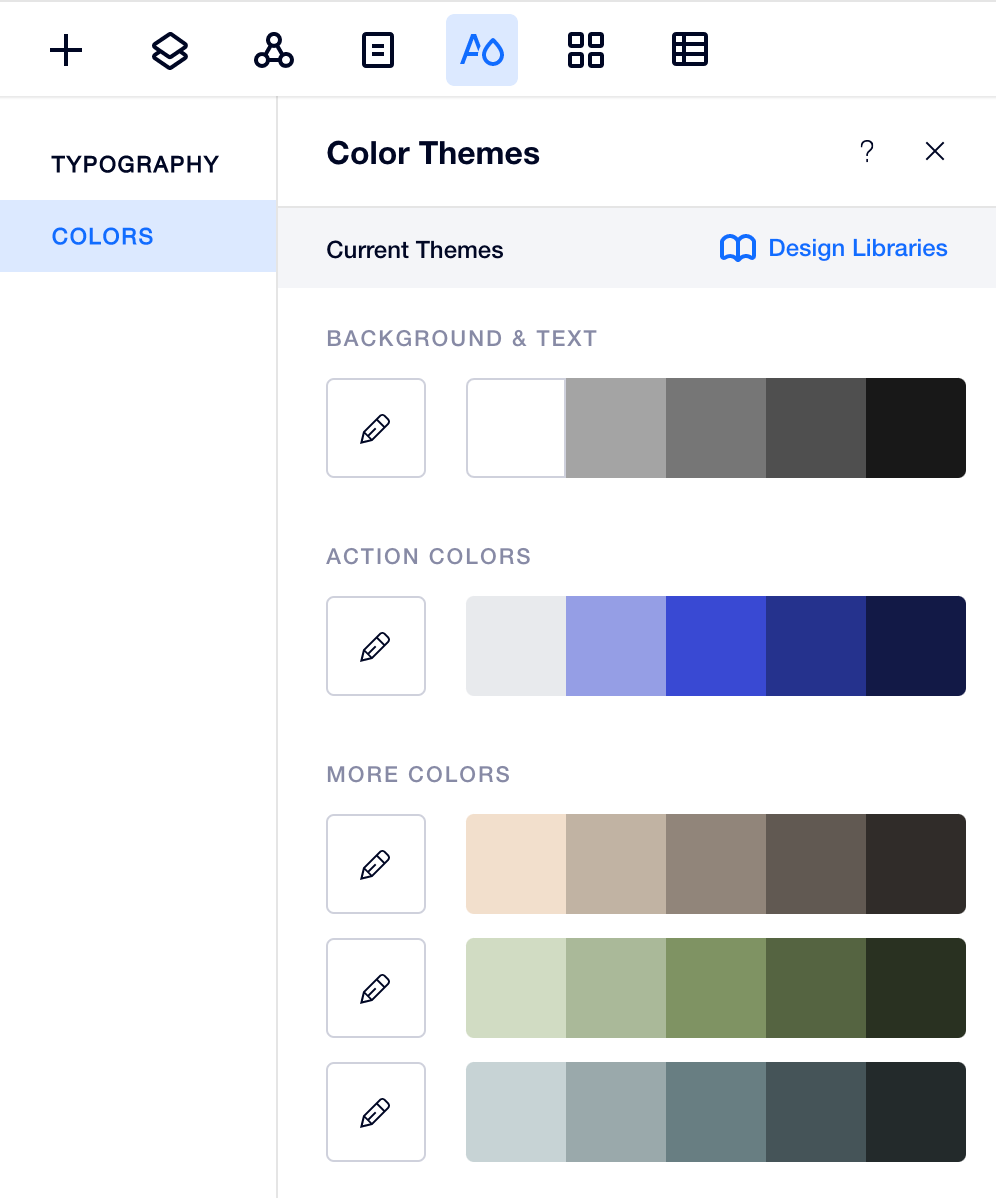 Editor X Theme Manager Color Interface