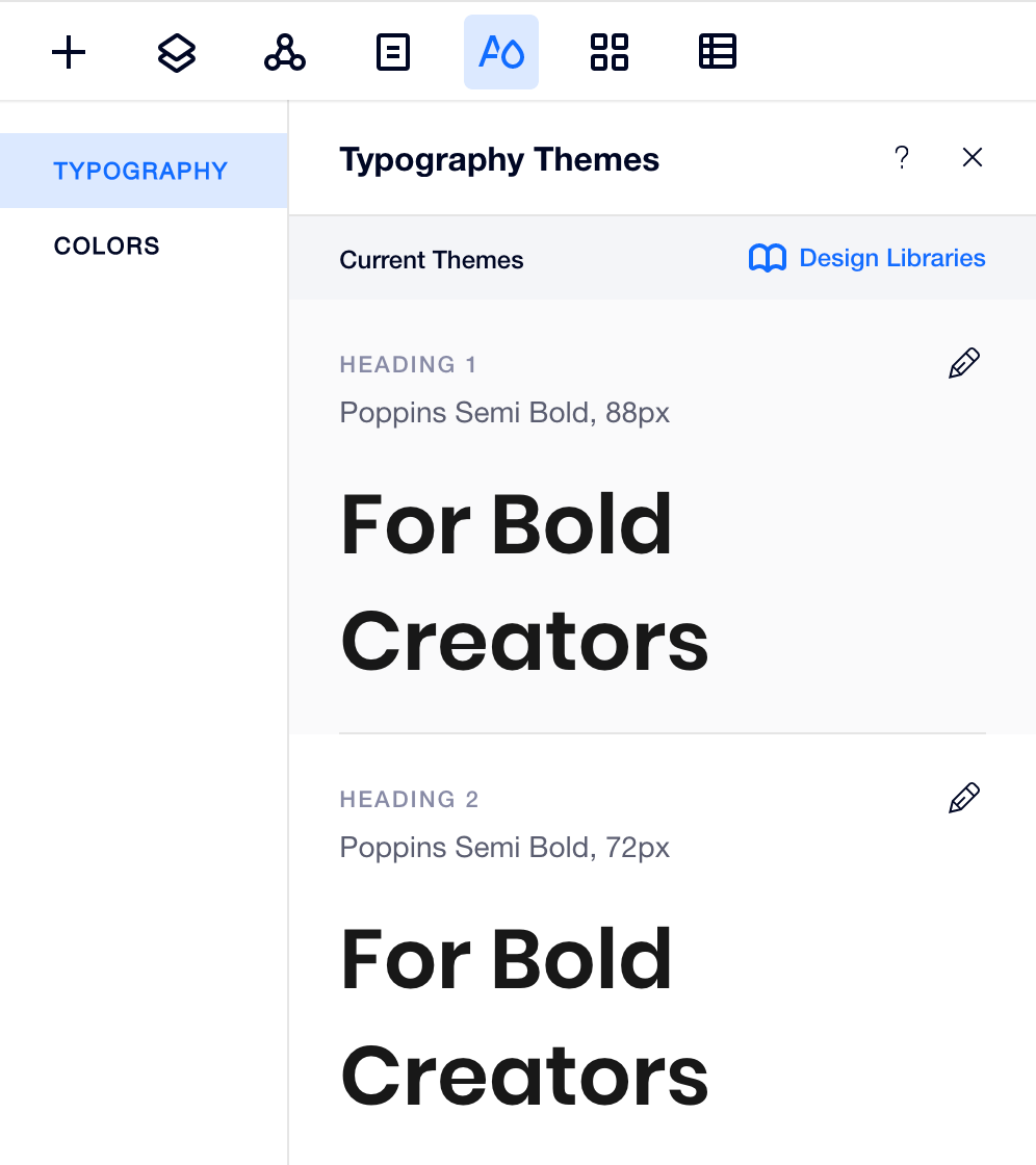 Editor X Theme Manage Typography Interface