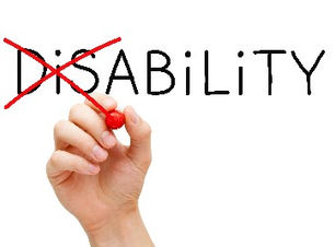 """Word disability with the """"dis"""" crossed out to spell ability"""