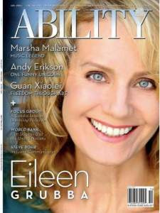 Eileen Grubba on the cover of Ability Magazine
