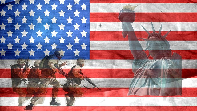 American Flag, Military and Statue of Liberty