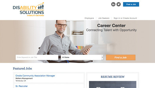 Disability Solutions Career Center Website Homepage Screenshot