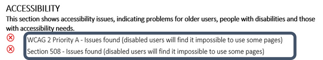 Sample report of findings for website accessibility issues