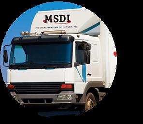 Medical waste disposal truck pickup