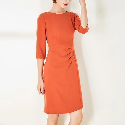 Orange tailored pleated formal dress, cocktail dress