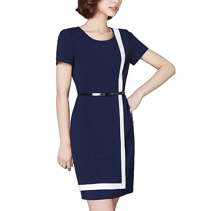 Navy blue white  L-strip detail office formal dress with belt with belt