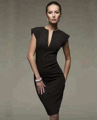 Black formal sheath dress with deep v neckline