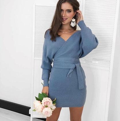 Blue breathable knitted v-neck jumper sweater dress