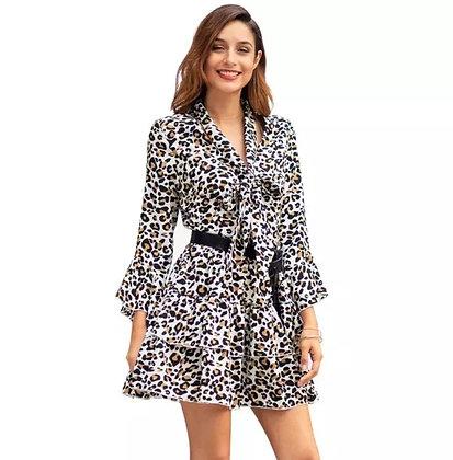 Leopard print belted ruffled long sleeve dress