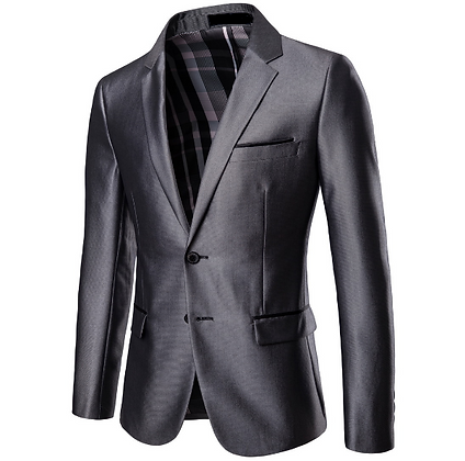 Men's grey 2-piece suit, work suit, party suit