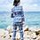 Thumbnail: Ladies blue geometric 2 piece pants and blazer suit set