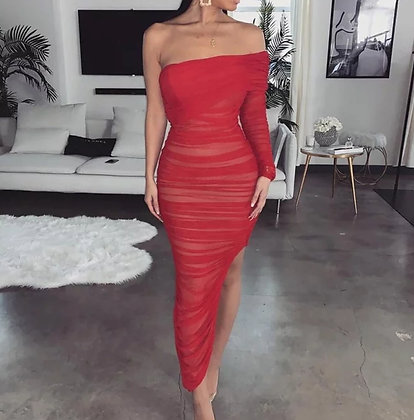 Red pleated one sleeve bodycon party dress