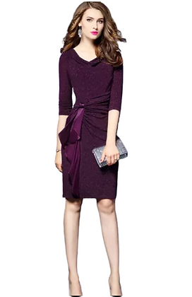 Purple wrap dress with detachable embelisment tie