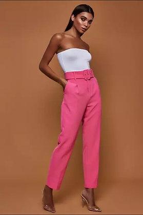 Ladies' pink belted pants