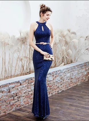 Blue sequin halter cut out neckline mermaid evening party dress with belt