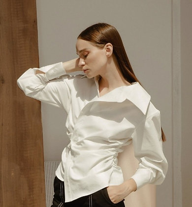 Ladies' formal white chemise shirt with twist details