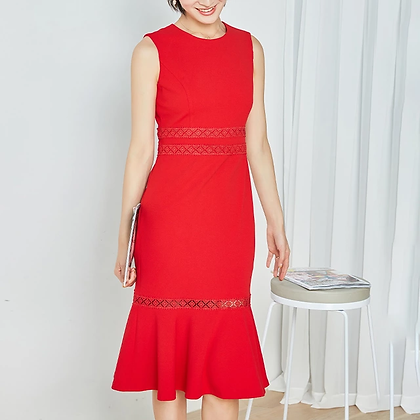 Red sleeveless ruffle hem dress with lace decoration