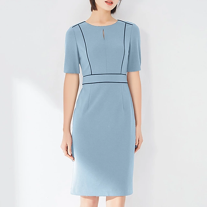 Tailored formal sky blue dress with strip detail, short sleeve office dress
