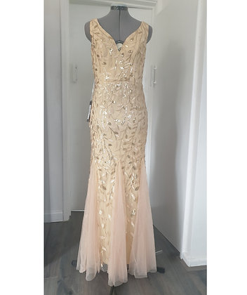 Gold mesh sequin floral mermaid formal evening party black tie dress