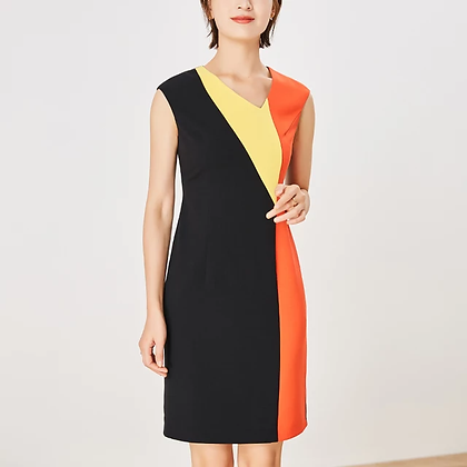 Black stand out orange yellow patchwork office formal dress