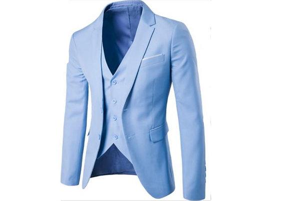 Men's cotton 3-piece suit - sky blue