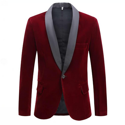 Men's slim fit velvet burgundy party suit