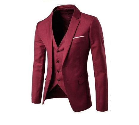Men's cotton 3-piece suit - burgundy
