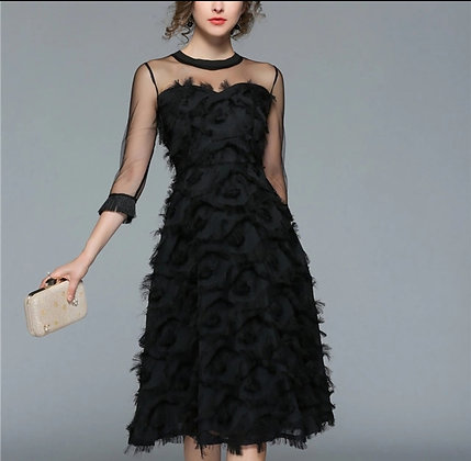 Black vintage fit and flare feathery evening party dress