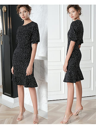 Puff sleeves mid-calf polka dot dress
