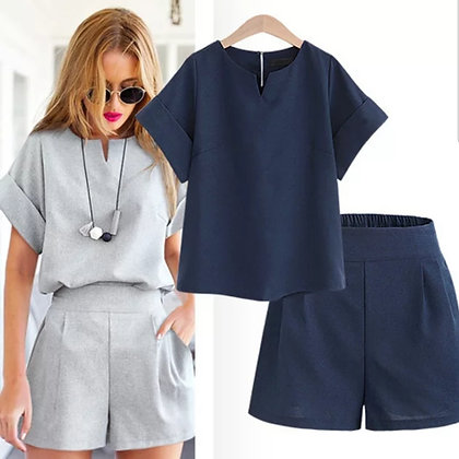 Two-piece ladies cotton shorts and matching top