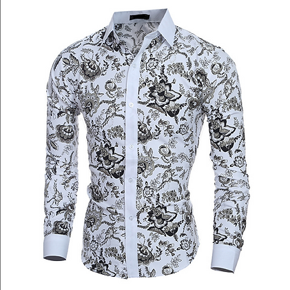 Men's black n white floral button down shirt