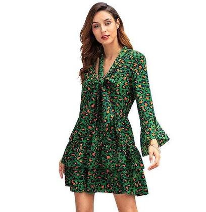 Green animal print ruffle tie long sleeve dress