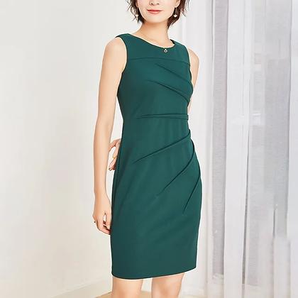 Green star pleats tailored formal sheath dress, Green office dress