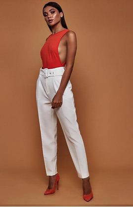 Ladies' white belted pants