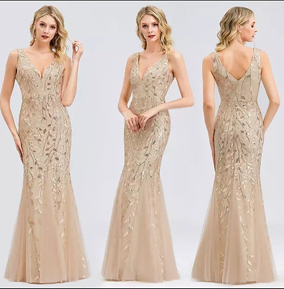 Gold sequin floral mermaid evening dress
