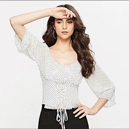 Midi sleeves polka dot belted chemise blouse