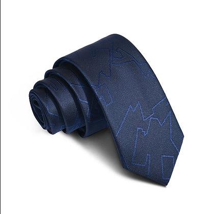 Men's quilted navy blue slim 6cm silk tie