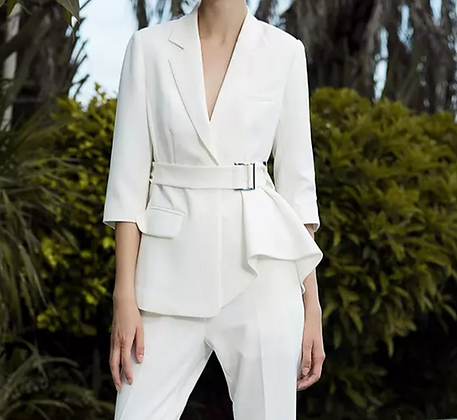 Ladies white belted 2-piece pants suit