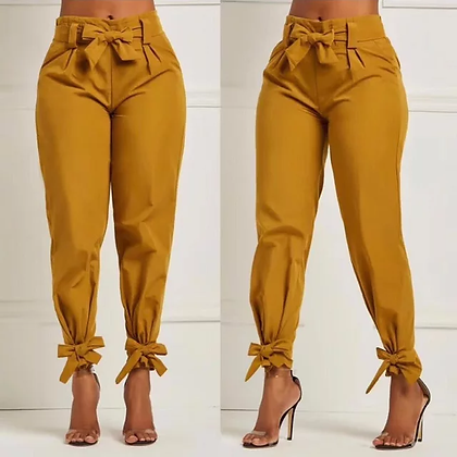 Ladies hem tie mustard yellow belted pants