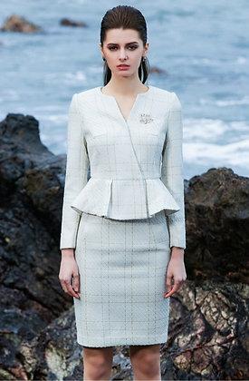 Chequered peplum tweed skirt suit