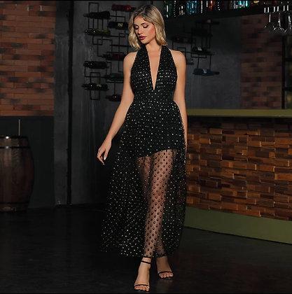 Black drape neckline backless sequin mesh overlay dress