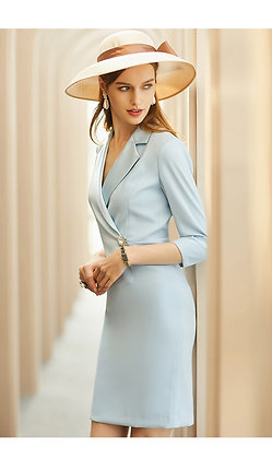Sky blue blazer midi sleeves dress