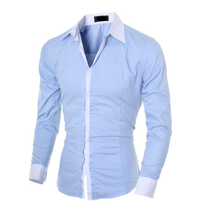 Men's cotton sky blue button down shirt