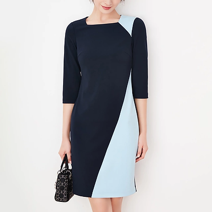 Navy blue, sky blue patchwork tailored formal dress, midi sleeves office dress