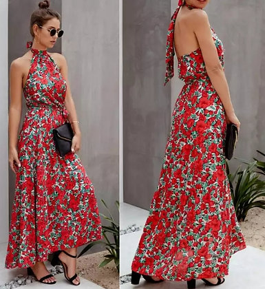 Red floral chocker neck backless casual summer tie dress