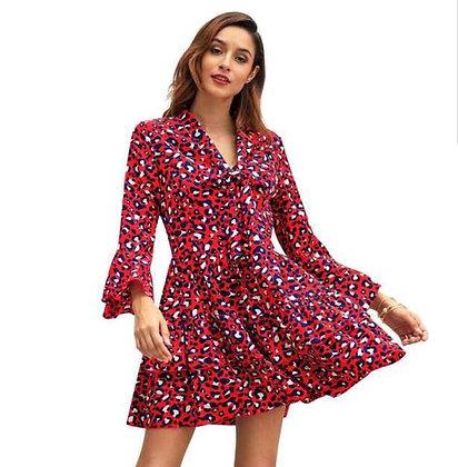 Red animal print ruffled long sleeve dress